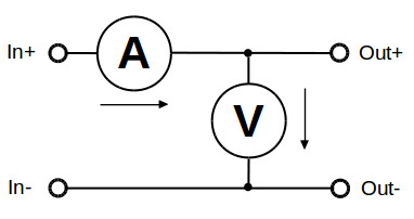 Internal circuit diagram voltage and current measurement
